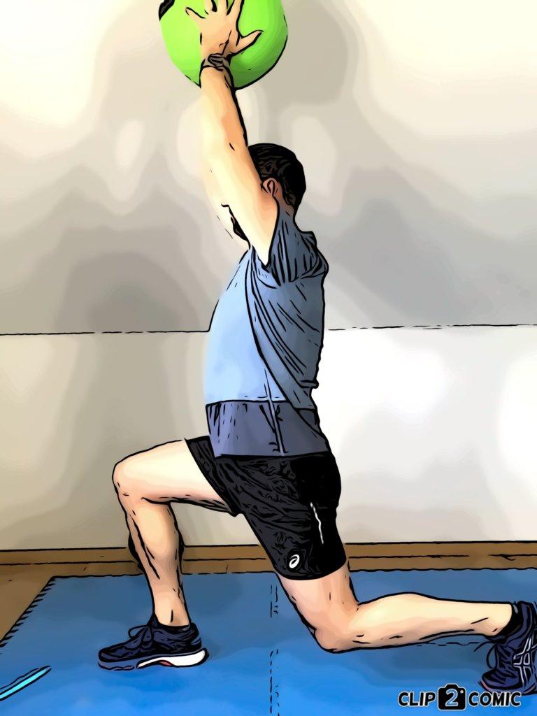 Medizinball-Übungen Ausfallschritte mit Frontheben