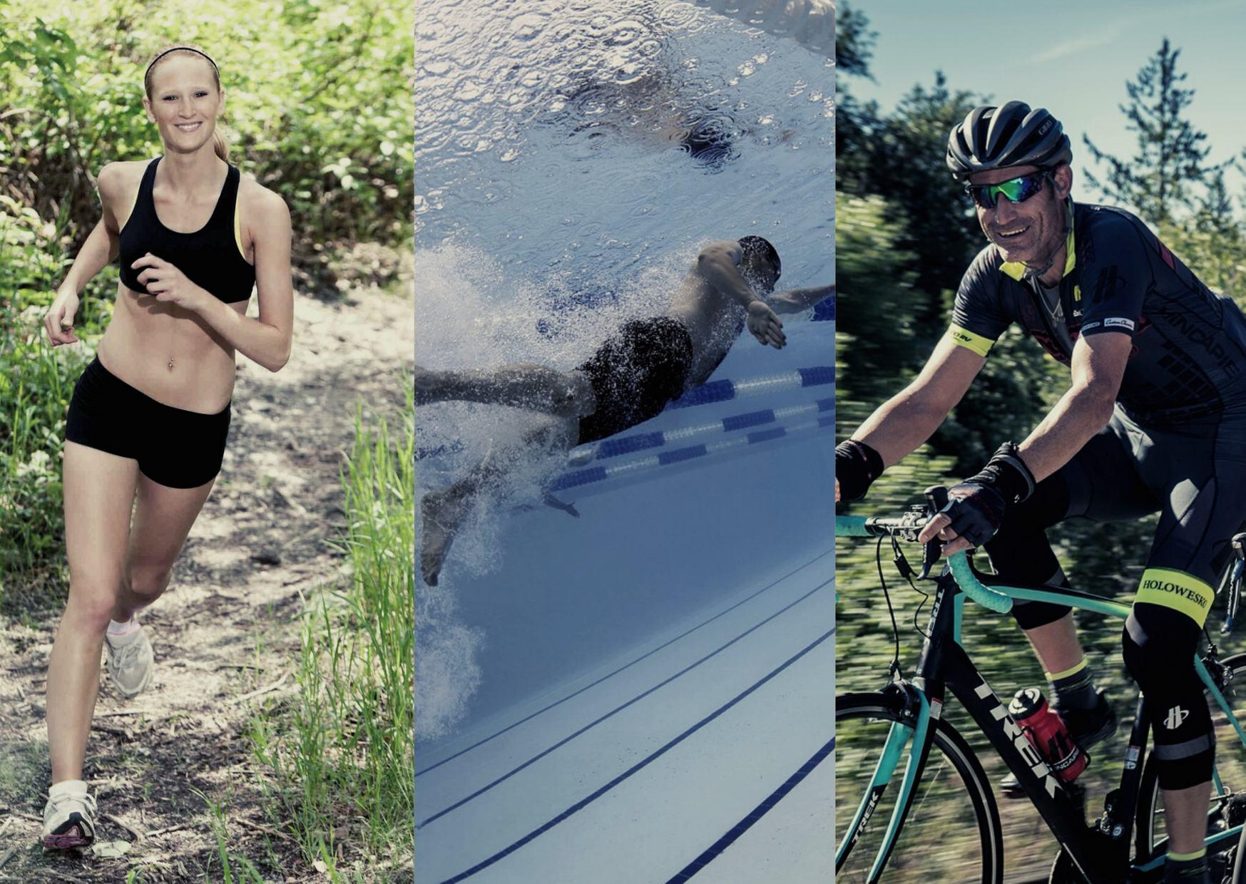 Sportartenvergleich Laufen, Schwimmen und Radfahren